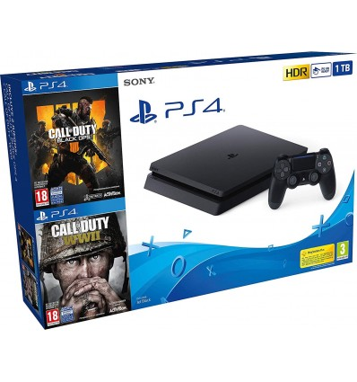 Sony PS4 Slim 1TB + Call of Duty: Black Ops 4 + Call of Duty: WWII